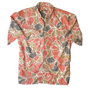 Quiksilver Vintage Suede Like Flowy Hawaiian Shirt